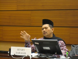 Henry Saragih, Serikat Petani Indonesia, La Vía Campesina, during the side event on the right to land
